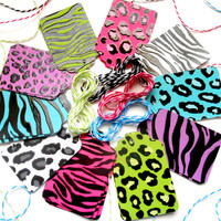 40 Glossy Safari Gift Tags w/8ft of Twine - Zebra Print, Leapord Print - Gift Tags, Party Favors, Bachelorette Tags, Birthday Tags,