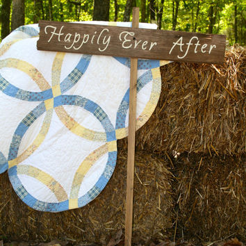 "Rustic Wooden Wedding Sign - ""Happily Ever After"""