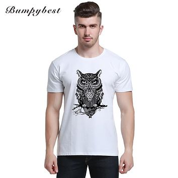 New men's fashion short sleeve night warrior owl printed t-shirts funny tee shirts Hipster O-neck popular tops