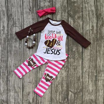 """4PC Girls Football Outfit """"Little Bit of Football and A Lot of Jesus"""" Brown White Pink Matching Pants, Necklace, and Headband"""