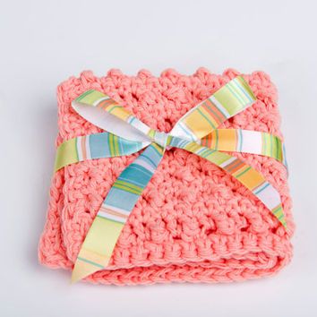Washcloth, Crochet Scrubbie Cotton Spa Accessory- peach