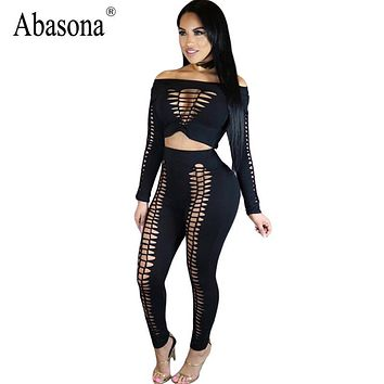 Abasona Cut out high waist slash neck skinny bodycon jumpsuits Women Sexy overalls Hollow out rompers black two pieces outfits