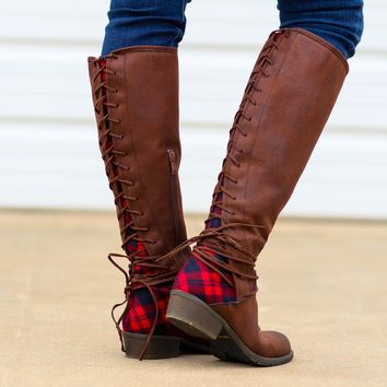 Very Volatile Marcel Plaid Boots