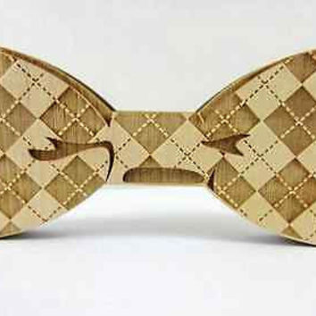 Trendy Fashion Jewelry Good Real Wood Hip Hop Tie Men Solid Geometric Bow Tie