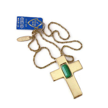 Whiting and Davis, Cross Necklace, Christian Cross, Gold Tone, Green Art Glass, Designer Jewelry, Vintage Necklace