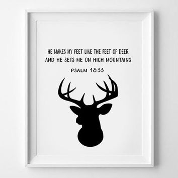 Bible verse, Deer Print, Deer Bible verse, Modern Christian Art, Deer Prints, DigitalDeer Bible Verses, Deer Bible Quote, Christian Print