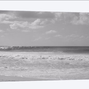 Canvas Print of Surfer standing on the beach North Shore, Oahu, Hawaii, USA