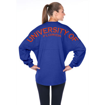 NCAA Florida Gators Women's Spirit Football Jersey Long Sleeve