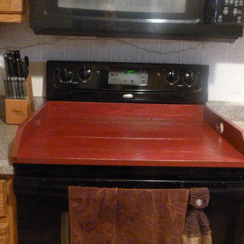 Primitive Kitchen, Noodle Board, Burgundy Dough Board, Country Kitchen Board, Wooden Tray, Stove Top Cover, Laundry Room
