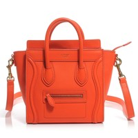CELINE Smooth Leather Nano Luggage Fluo Orange
