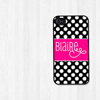 Personalized iPhone 4 Case, iPhone 5 Case, Preppy Black and White Polka Dots with Pink, iPhone Case, Phone Case, iPhone Cover (107)