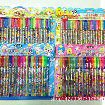 Heat a variety of patterns 24 color cards installed highlighter flashlight pen stationery crayons painting graffiti pen