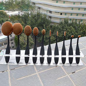 Creative Professional Oval Toothbrush Shaped Makeup Cosmetic Contour Foundation Brush Set Gift