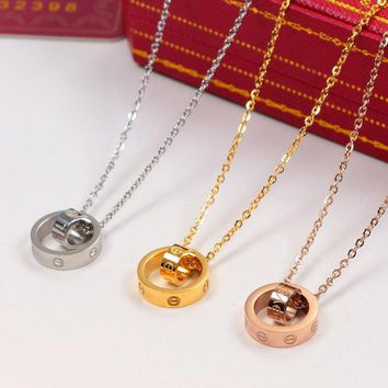Cartier LOVE Women Fashion Plated Chain Necklace Jewelry