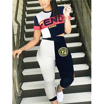 Fendi New fashion letter contrast color top and pants two piece suit