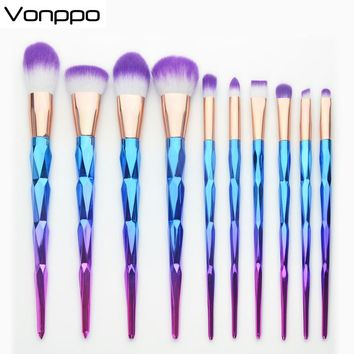 10Pcs Diamond Makeup Brushes Tools Set Diamond Handle Purple-White Synthetic Hair Gold Tube Blush Powder Eyeshadow, As A Gift
