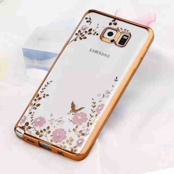Luxury Secret Garden Flowers Rose Golden Frame Bling Soft Phone Case for Note 5 TPU Cover for Samsung Galaxy Note 5 Case Capa