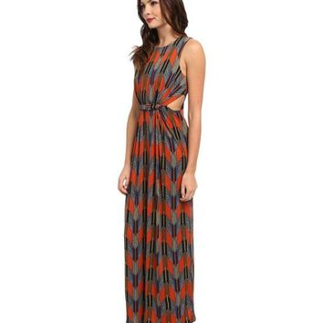 NWT T-Bags Los Angeles Sleeveless Maxi w/ Cutouts, Multi-Color, Medium