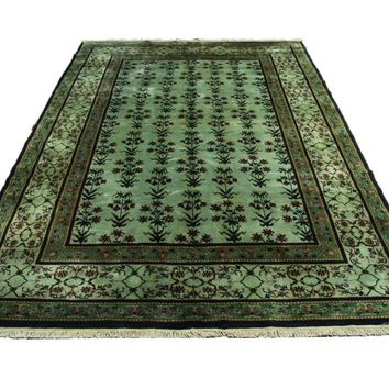 6x9 Overdyed Green Deco Rug 2803