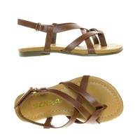 SpicaIIs Dark Tan by Soda, Children Girl's Gladiator Strappy Flat Sandal w Hook & Loop