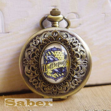 Vintage Glass Pocket Watch Necklace with Inspired Hufflepuff Y161