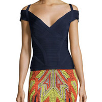 Herve Leger Off-Shoulder Cap-Sleeve Bandage Top