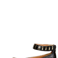 Promise Freida Black and Gold Pointed Cap-Toe Flats