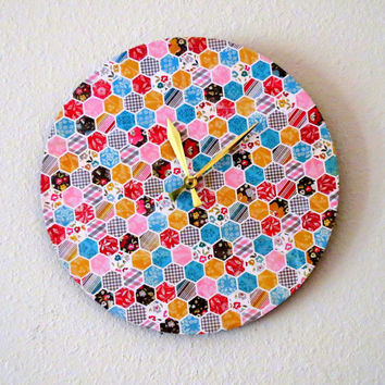 Large Wall Clock, Geoemtric Decor, Hexagon, Home and Living, Decor & Housewares, Recycled Wall Clock, Unique Wall Clock