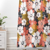 Heather Dutton Petals And Pods Lava Shower Curtain And Mat