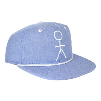 Stickman Snapback Hat - Heather Blue / White