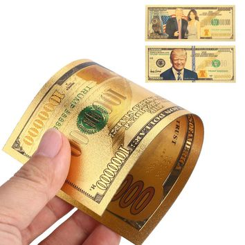 Banknotes 24K Gold Plated Dollars Donald Trump and The First Lady 10 Billion Trump Antique Decoration Commemorative Notes