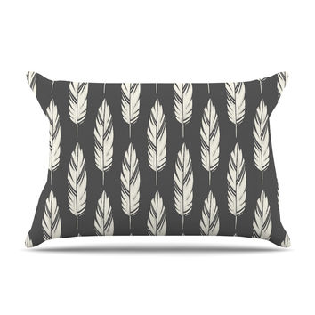 "Amanda Lane ""Feathers Black Cream"" Dark Pattern Pillow Case"