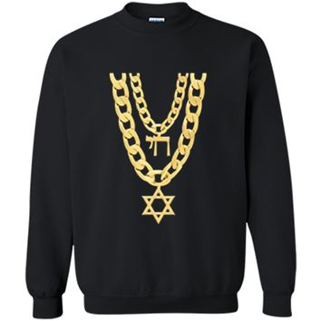 Jew Chai Bling Chain Hanukkah Festival Of Lights Jew  Printed Crewneck Pullover Sweatshirt