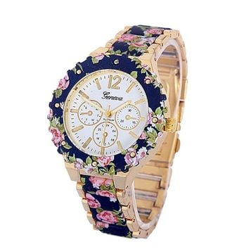 Women's Casual Floral Print Quartz Watch