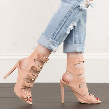 Buckle Heeled Sandals in Mauve and Black