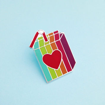 Retro Rainbow Juice Box Enamel Pin Badge, Lapel Pin, Tie Pin