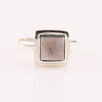 Gibeon Meteorite Sterling Silver Ring