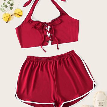 Grommet Lace Up Contrast Binding Top & Dolphin Hem Shorts Set