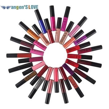 Luxury Matte Lipstick 34 Colors Vampire Nude Grape Wine Colorful  QiBest Soft Matte Lip Cream Lip Gloss Long-lasting