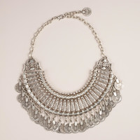 Silver Coin Statement Necklace - World Market