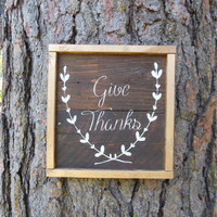 """Joyful Island Creations """"Give Thanks"""" wood sign, gold frame, thanksgiving decor, fall signs, small wood sign, gifts under 20"""
