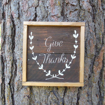 "Joyful Island Creations ""Give Thanks"" wood sign, gold frame, thanksgiving decor, fall signs, small wood sign, gifts under 20"