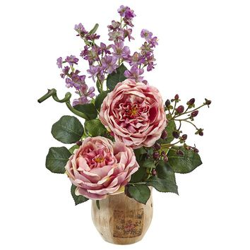 Silk Flowers -Large Pink Rose And Dancing Daisy In Wooden Pot Arrangement