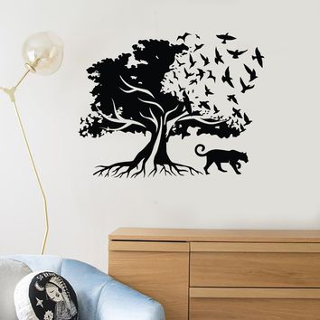 Vinyl Wall Decal Tree Birds Tiger Nature Decor Room Art Stickers Mural (ig5353)