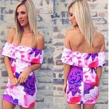 Floral Printing Off-The-Shoulder Sexy Elegant Mini Party Dress women