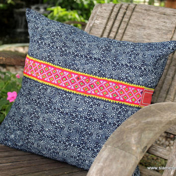 "18"" Decorative Throw Pillow Cushion Cover In Ethnic Hmong Indigo Batik With Embroidery Accents"