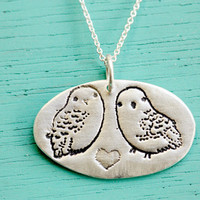 Handmade Owl Necklace - Sterling Silver Owl Necklace - Snowy Owl Necklace - Owl Heart Necklace