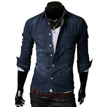 Men Cotton Plus Size Denim Korean Slim Long Sleeve Shirt [6544490371]