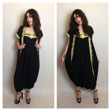 VINTAGE GENIE JUMPSUIT - ethnic - black and gold - fits most sizes