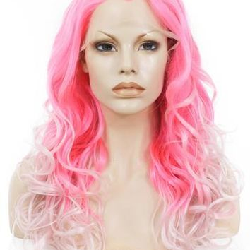 Long Roseate Pink Ombre Wave Synthetic Lace Front Wig